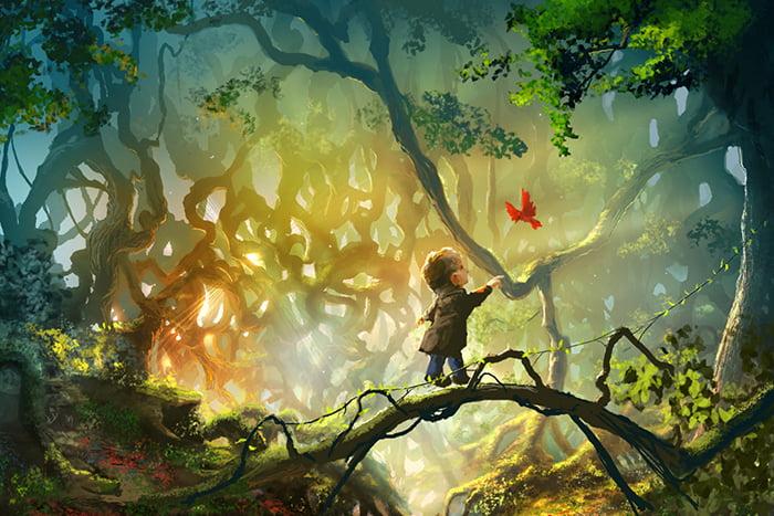 Рисунок - ребенок в лесу