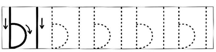 Схема начертания печатной буквы Ы