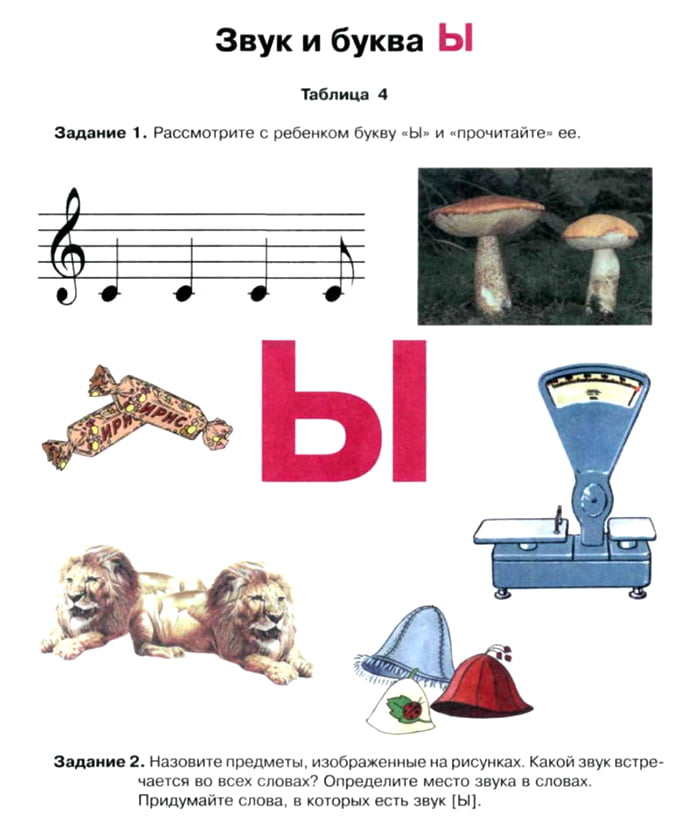 Упражнение для дошкольников на изучение буквы Ы