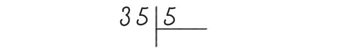 Деление столбиком - делимое и делитель 35 и 5