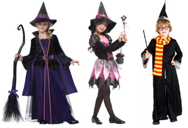 Дети в костюмах для Хеллоуина