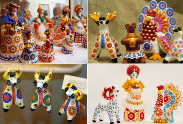 Глиняные игрушки Дымково