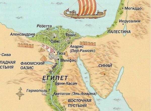 Географическая карта древнего Египта