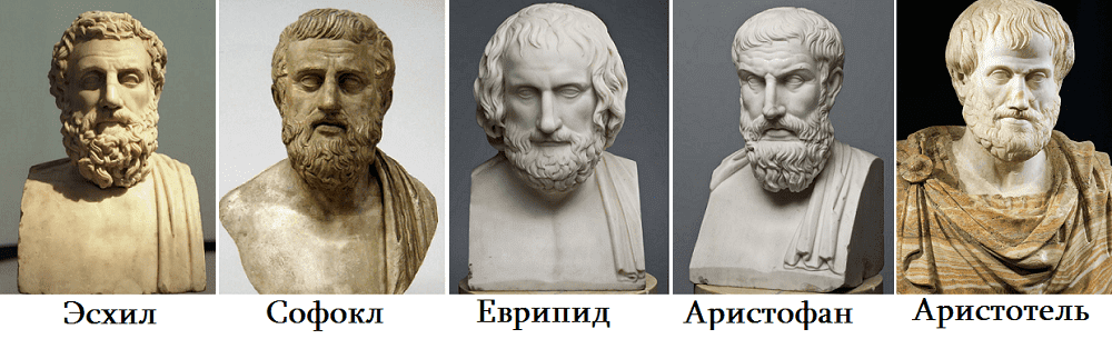 Эсхил, Софокл, Еврипид, Аристофан, Аристотель.