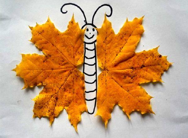 Аппликация из листьев бабочка