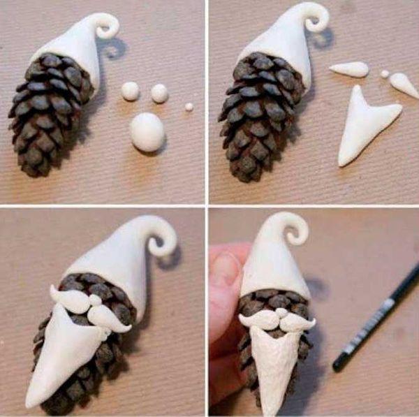 Дед Мороз из шишек 2