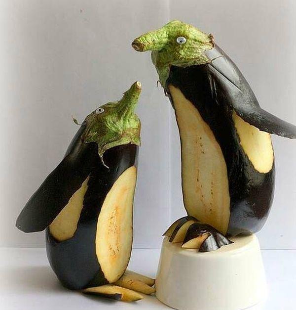 Пингвины из баклажанов