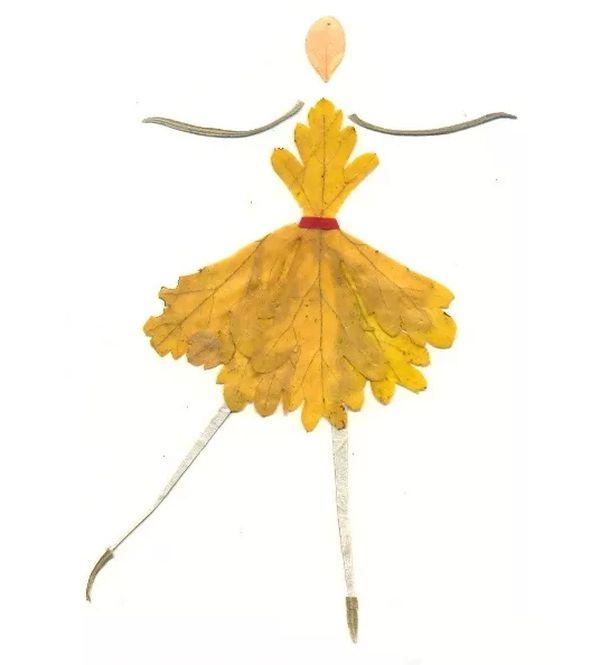 Балерина из листьев