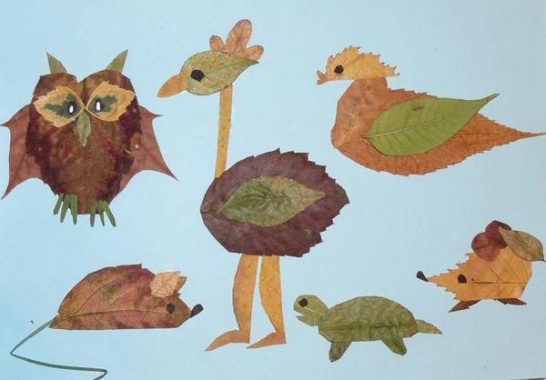 Разные животные из листьев