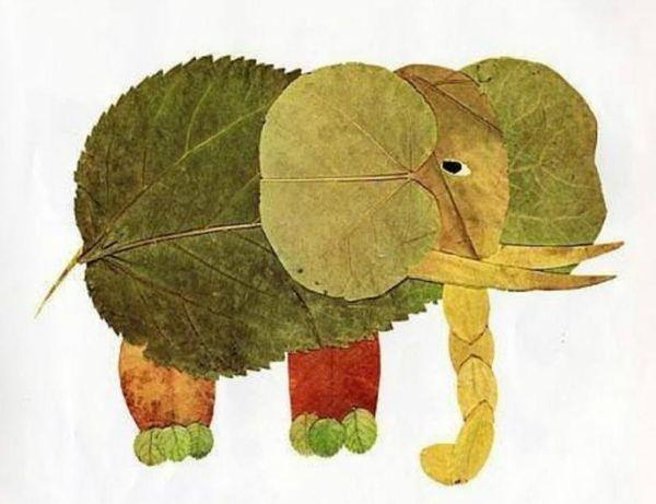 Слоник из листьев