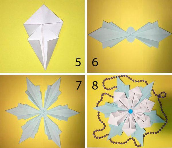 Красивые объемные снежинки в технике оригами 2