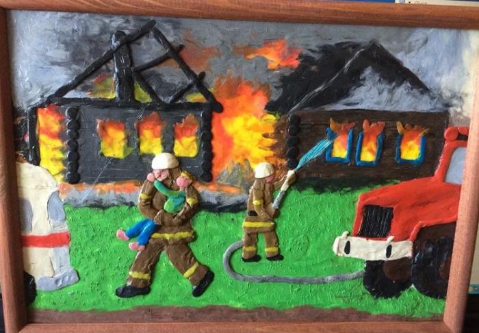 Поделка пожарная безопасность из пластилина