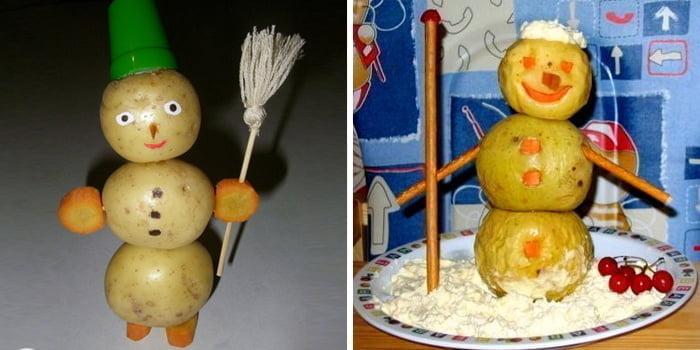 Снеговик из картошки